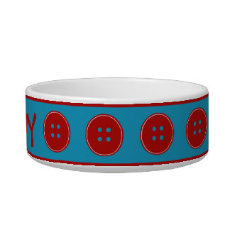 Red Buttons Everywhere Personalized Bowl