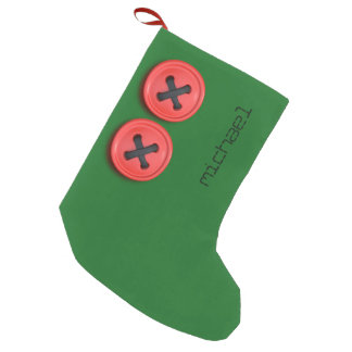 Red Buttons on Festive Green Christmas Stocking