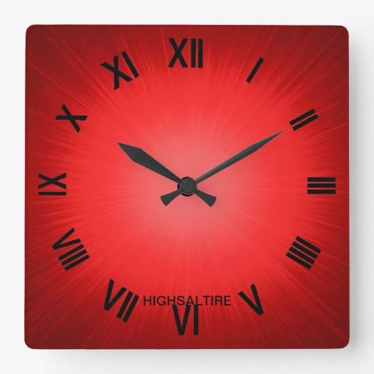 red by highsaltire square wall clock