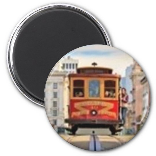 Red Cable Car 6 Cm Round Magnet