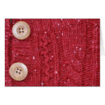 Red Cable Knit and Two Buttons Note Card