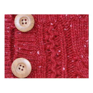 Red Cable Knit and Two Buttons Post Card