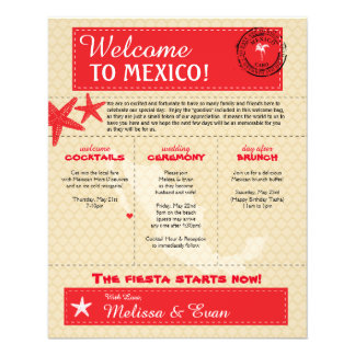 Red Cabo Mexico Wedding Welcome Letter 11.5 Cm X 14 Cm Flyer