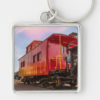 Red Caboose On The Go Silver-Colored Square Key Ring