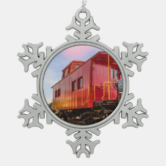 Red Caboose On The Go Snowflake Pewter Christmas Ornament