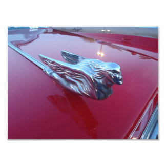 Red Cadillac Flying Woman Hood Ornament Photo Art