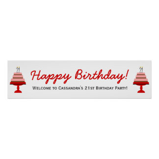 Red Cake 21st Birthday Party Banner Poster