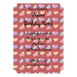 Red cake pattern 13 cm x 18 cm invitation card
