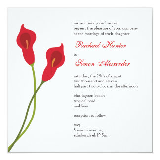 Red Calla Lilies Wedding Invitiation Card
