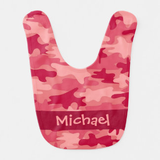 Red Camo Camouflage Name Personalized Bibs