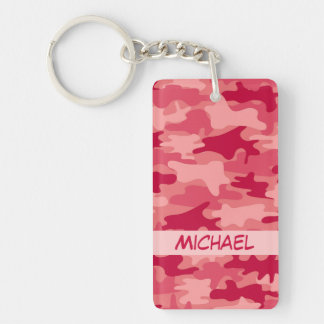 Red Camo Camouflage Name Personalized Double-Sided Rectangular Acrylic Key Ring