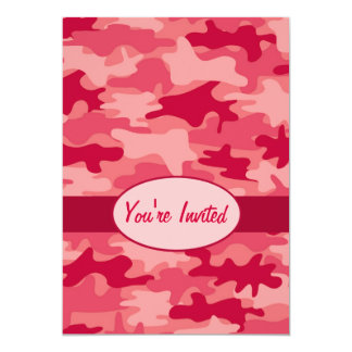 Red Camo Camouflage Party Event 13 Cm X 18 Cm Invitation Card