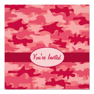 Red Camo Camouflage Party Event Square 13 Cm X 13 Cm Square Invitation Card