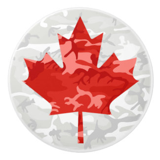 Red Camo Maple Leaf Ceramic Knob