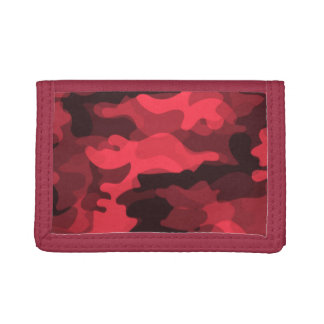 Red Camoflauge Trifold Wallets