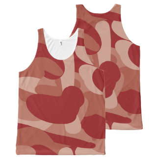 Red Camouflage All-Over Print Tank Top