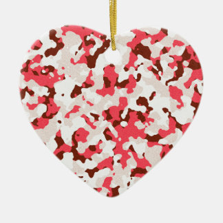 Red camouflage pattern ceramic heart decoration