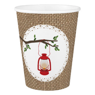 Red Camping Lantern Burlap Inspired Wedding Cups