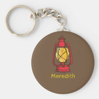 Red Camping Lantern Personalised Keychain