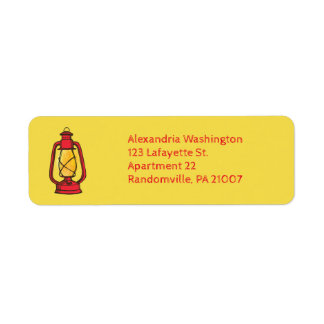 Red Camping Lantern Return Address Labels