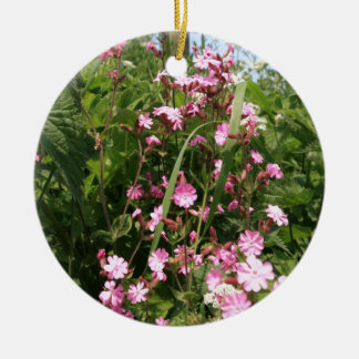 Red Campion Flower Christmas Ornament