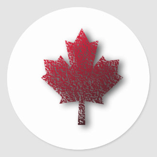 Red Canadian Maple Leaf Classic Round Sticker