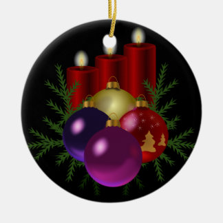 Red candles christmas ornament
