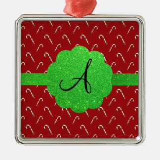 Red candy canes green glitter monogram christmas ornament