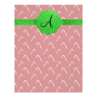 Red candy canes green glitter monogram flyer