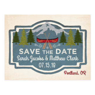 Red Canoe Save the Date Postcard