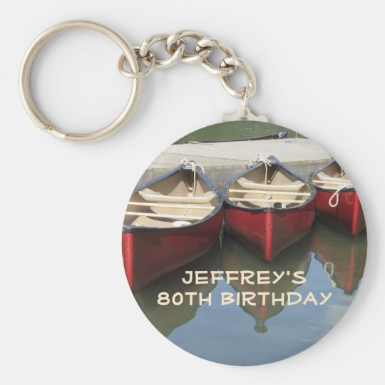 Red Canoes 80th Birthday Personalised Keychain