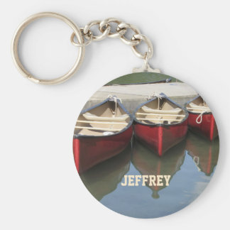 Red Canoes Personalized Keychain (Key Chain) Basic Round Button Keychain