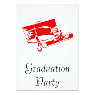 Red Cap & Diploma 13 Cm X 18 Cm Invitation Card