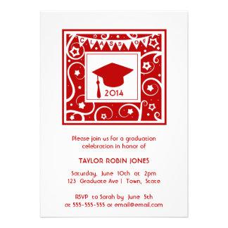 Red Cap Stars Swirls Graduation Class invitation