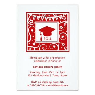 Red Cap Stars & Swirls Graduation Class invitation