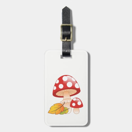 Red Cap Toadstool Mushrooms and Leaves Luggage Tag