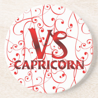 Red Capricorn Horoscope Symbol Coaster