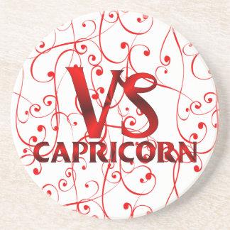 Red Capricorn Horoscope Symbol Drink Coaster