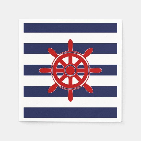 Red Captain's Wheel & Navy Horizontal Stripes Paper