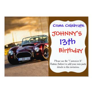 Red car.Classic car 13 Cm X 18 Cm Invitation Card