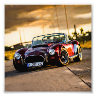 Red car.Classic car Photo Art