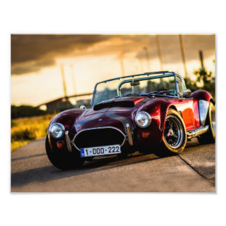 Red car.Classic car Photographic Print