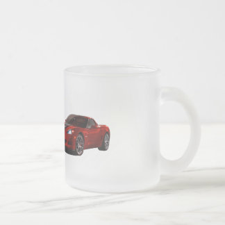 Red Car Frosted Glass Mug