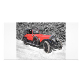 Red car photo card template