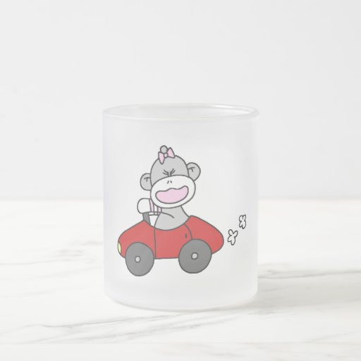 Red Car Sock Monkey Tshirts and Gifts 10 Oz Frosted Glass Coffee Mug