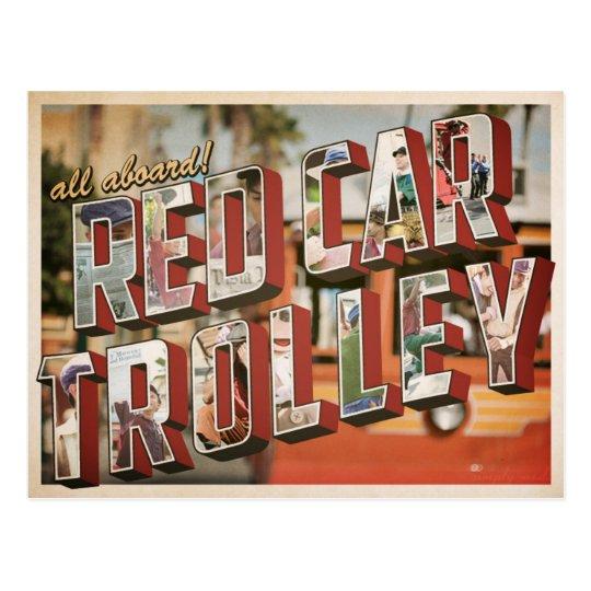 red car trolley. postcard