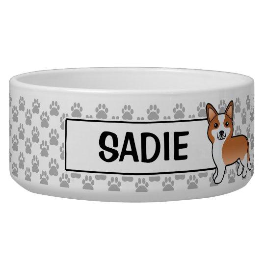 Red Cardigan Welsh Corgi & Dog's Name Dog Food Bowls