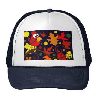 Red Cardinal Bird and Autumn Leaves Abstract Art Hats