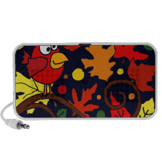 Red Cardinal Bird and Autumn Leaves Abstract Art iPod Speaker