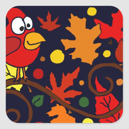 Red Cardinal Bird and Autumn Leaves Abstract Art Sticker